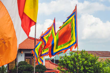 Traditional Festival flags of Vietnam Five Elements Flag. Nha Trang