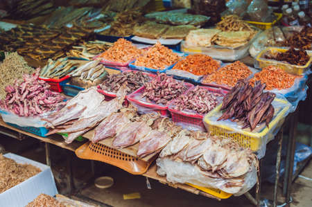 categorize: Fresh seafood on the Vietnamese market. Asian food concept.