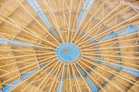 Background of the radial dome of the building with radiating rays.