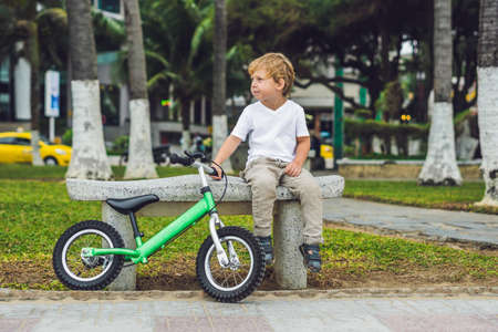 Active blond kid boy driving bicycle in the park near the sea. Toddler child dreaming and having fun on warm summer day. outdoors games for children. Balance bike concept. Stock Photo