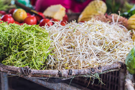 beansprouts: The soybean sprouts in the market are Vietnamese. Asian cuisine concept..