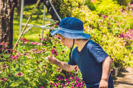 A boy in a panama smells a tropical flower.