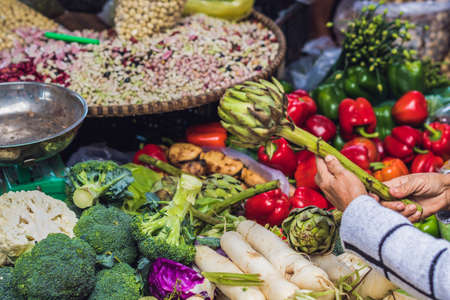 The variety of vegetables in the Vietnamese market.