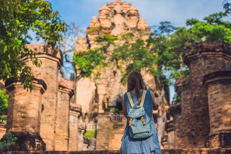 Woman tourist in Vietnam. Po Nagar Cham Tovers. Asia Travel concept. Stock Photo