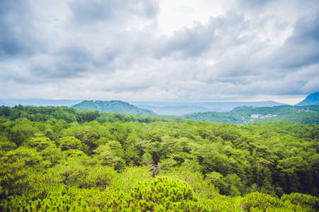 Fantastic landscape of Dalat Mountains, Viet Nam, fresh atmosphere, villa among forest, impression shape of hill and mountain from high view, wonderful vacation for ecotourism in spring.