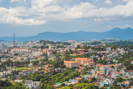 famous industries: View of the city of Dalat, Vietnam. Journey through Asia concept. Stock Photo