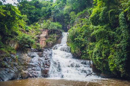 Beautiful cascading Datanla waterfall In the mountain town Dalat, Vietnam.