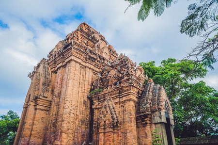 archaeologies: Old Brick cham towers in Nha Trang, landmark Vietnam. Asia Travel concept. Journey through Vietnam Concept.