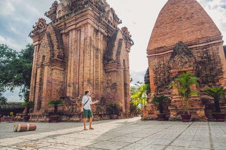 Man tourist in Vietnam. Po Nagar Cham Tovers. Asia Travel concept. Journey through Vietnam Concept.