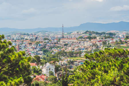View of the city of Dalat, Vietnam. Journey through Asia concept. 스톡 콘텐츠