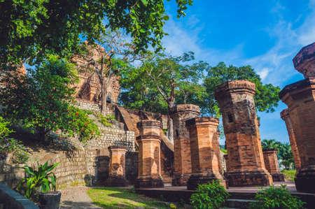 Old Brick cham towers in Nha Trang, landmark Vietnam. Asia Travel concept. Journey through Vietnam Concept.