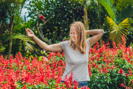 Young woman on the background of red salvia splendens flowers blooming in the garden.