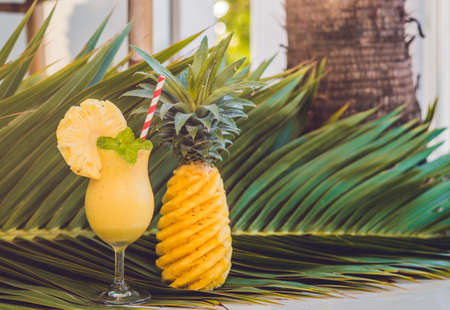 Pineapple and pineapple smoothies against the background of a branch of a palm tree. Stock Photo