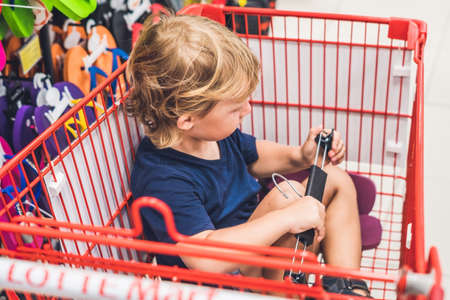 Cute toddler boy sitting in the shopping cart in a food store or a supermarket. Stock Photo