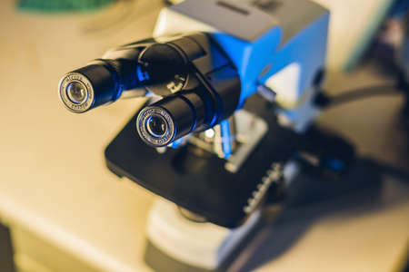 optical microscope in a medical laboratory. Study of biological samples