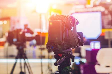 TV NEWS studio with camera and lights. Banco de Imagens - 85610799