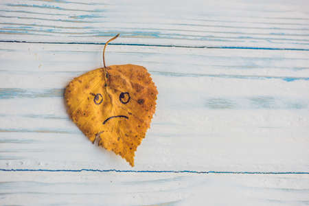 Yellow and green leaf with sad face on the old wooden background. Stock Photo
