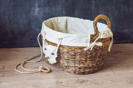 A basket for toys made from old newspapers. zero waste.