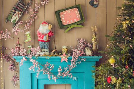 Christmas decor, Christmas Background, fireplace Christmas tree 스톡 콘텐츠