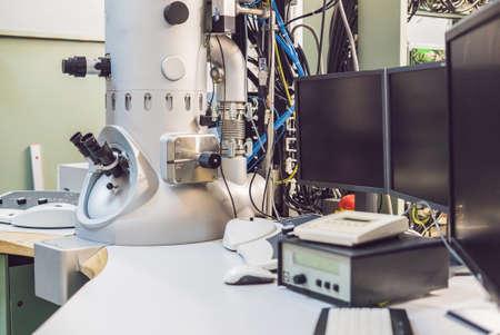transmission electron microscope in a scientific laboratory.