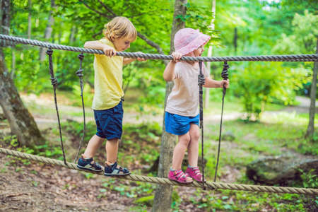 Portrait of cute little boy and girl walk on a rope bridge in an adventure rope park.
