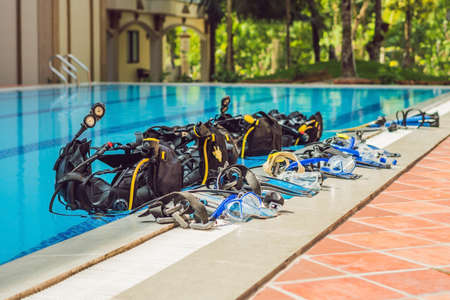 Equipment For Diving Is On The Edge Of The Pool, Ready For A Lesson.