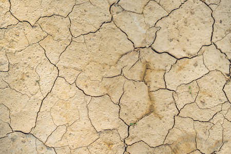 Cracked dry brown soil background, global warming effect. Stock Photo
