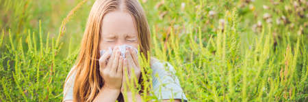 Young woman sneezes because of an allergy to ragweed. BANNER, long format Banque d'images - 105829713