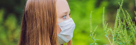 Young woman in a medical mask because of an allergy to ragweed. BANNER, long format Stock Photo