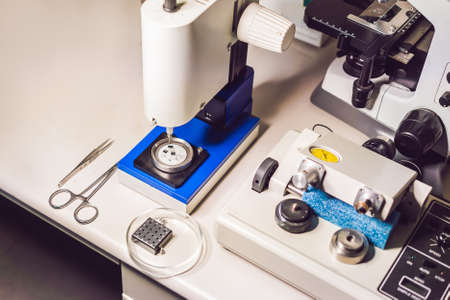 Ultrasonic Cutter System and precision micrometer grinder polishing machine used to prepare samples for electronic microscopy investigation
