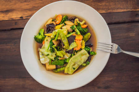 Stewed vegetables with tofu. Balinese dish. Lifestyle
