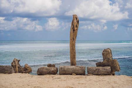 Beautiful Melasti Beach with turquoise water, Bali Island Indonesia. Stock Photo