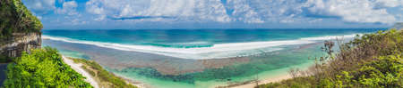 Large panorama, Banner, long format Beautiful Melasti Beach with turquoise water, Bali Island Indonesia.