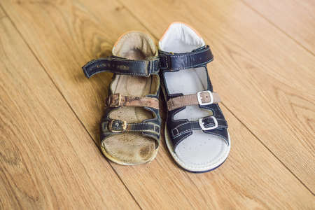 Old and new children's orthopedic shoes. Thomas Heel, arch support.