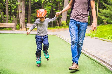 Dad teaches son  in the park.