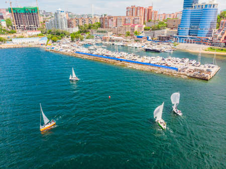 Sailing yachts regatta. Series yachts and ships. photo from drone.