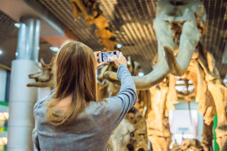woman use mobile phone and blurred image of people in the dinosaur exhibition.