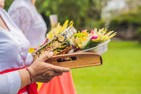 Balinese Hindu Offerings Called Canang. Canang sari is one of the daily offerings made by Balinese Hindus Stock Photo