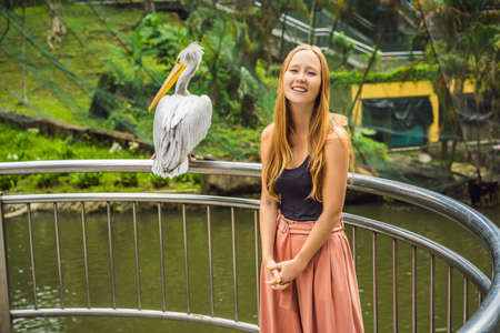 A young woman is photographed with a pelican. Great white pelican also known as the eastern white pelican, rosy or white pelican Pelecanus onocrotalus