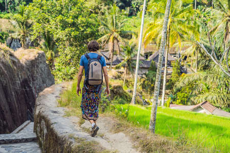 Man is a traveler in a rice paddy in Ubud, Bali, Indonesia Stock Photo