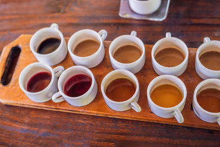 Tasting various types of coffee and tea, including coffee Luwak