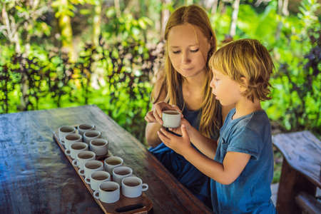 Mom and son are tasting different kinds of coffee and tea, including coffee Luwak Stock Photo