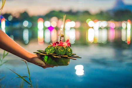 Flores para celebrar el festival Loy Krathong en Tailandia