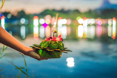 Flowers to celebrate the Loy Krathong festival in Thailand Reklamní fotografie - 118477469