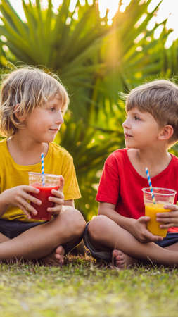Two boys drink healthy smoothies against the backdrop of palm trees. Mango and watermelon smoothies. Healthy nutrition and vitamins for children VERTICAL FORMAT