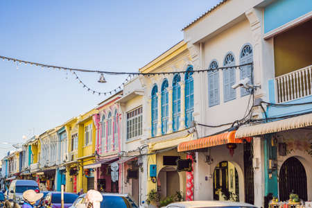 Street in the Portugese style Romani in Phuket Town. Also called Chinatown or the old town Stock fotó - 123628790