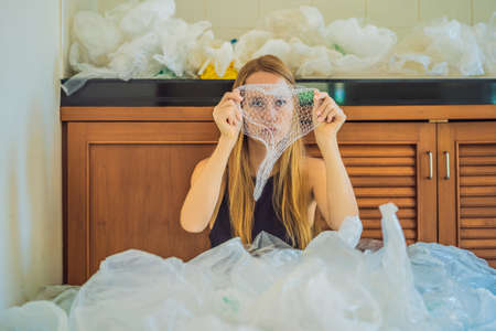 Woman used too many plastic bags that they filled up the entire kitchen.