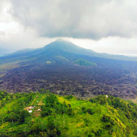 Beautiful Batur volcano, view from drone, panorama