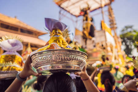 Royal cremation ceremony prepation. Balinese hindus religion procession. Bade and Lembu Black Bull symbol of transportation for the spirit to the heaven