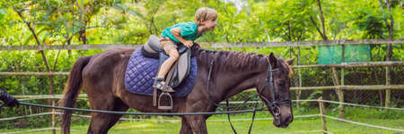 Boy horseback riding, performing exercises on horseback BANNER, LONG FORMAT